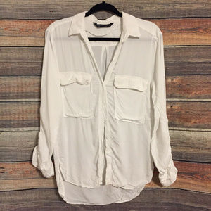 Zara woman white button down blouse